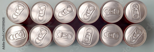 Fotomural Many new aluminium cans of soda soft drink or energy drink containers
