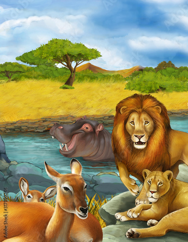 cartoon scene with antelope and hippopotamus hippo near river and lion Wallpaper Mural