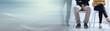 Leinwanddruck Bild - People waiting for job interview; panoramic banner