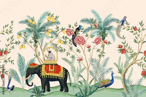 Photo Vintage indian floral palm tree, plant, elephant animal, peacock bird seamless border pink background