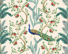 Vintage Garden Pomegranate Fruit Tree, Banana Tree, Exotic Peacock Floral Seamless Pattern Pink Background. Exotic Chinoiserie Wallpaper.