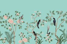 Vintage Chinoiserie Floral Ros...