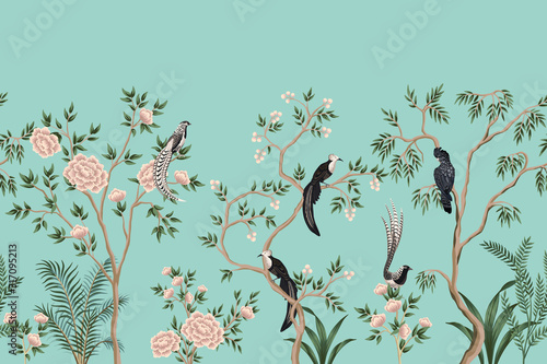 Murale ścienne  vintage-chinoiserie-floral-rose-tree-plant-bird-seamless-border-turquoise-background-exotic-oriental-wallpaper
