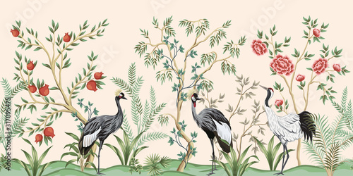 Vintage garden tree, pomegranate tree, plant, crane bird floral seamless border pink background. Exotic chinoiserie wallpaper.