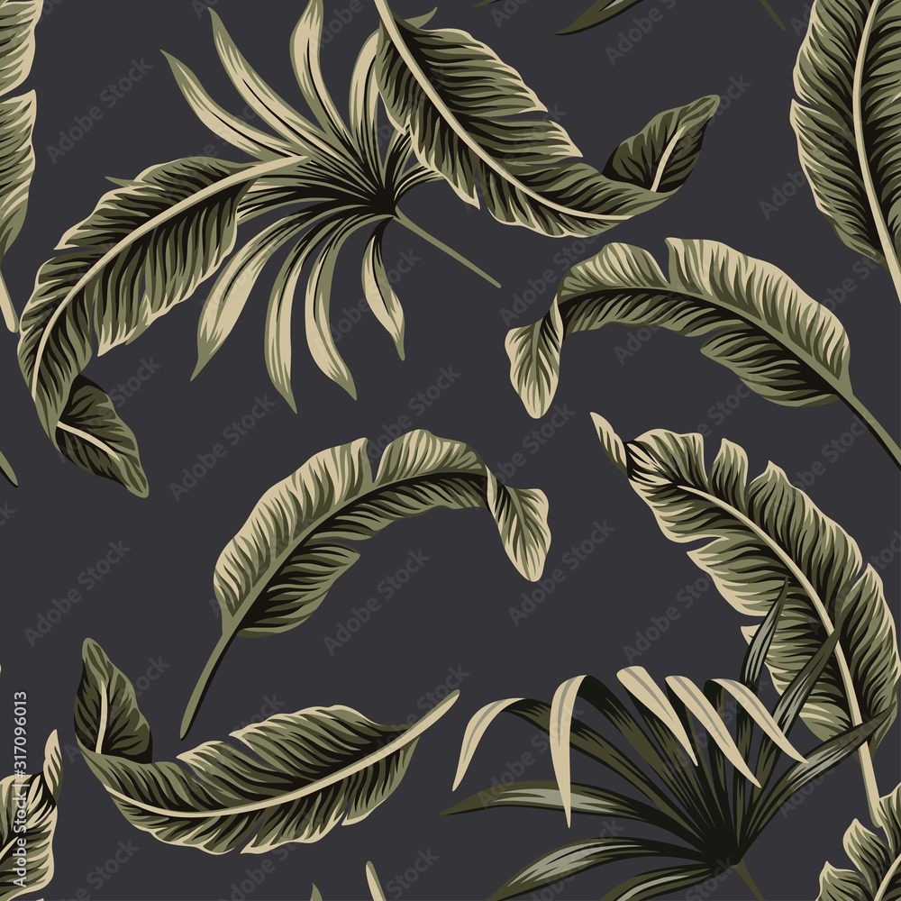 Tropical floral foliage dark green palm leaves, banana leaves seamless pattern black background. Exotic jungle night wallpaper.