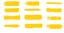 Set Of Yellow Paint Smear Brushes For Painting
