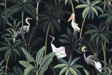 Tropical Vintage Night Landscape, Dark Palm Trees, Plant, Birds Floral Seamless Pattern Black Background. Exotic Jungle Wallpaper.