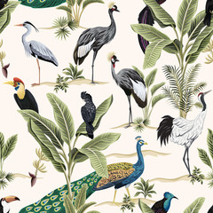 Fototapeta Do sypialni Tropical botanical crane, black parrot, toucan, peacock, heron bird floral green banana tree, plant seamless pattern light background. Exotic jungle wallpaper.