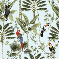 Fototapeta Do sypialni Tropical vintage palm trees, liana, macaw parrot, toucan bird floral seamless pattern blue background. Exotic jungle wallpaper.