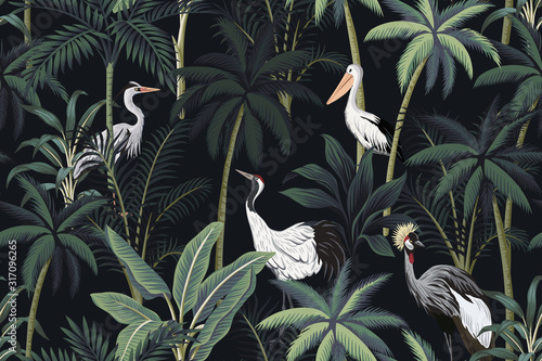 Tropical vintage night landscape, dark palm trees, plant, birds floral seamless pattern black background. Exotic jungle wallpaper.
