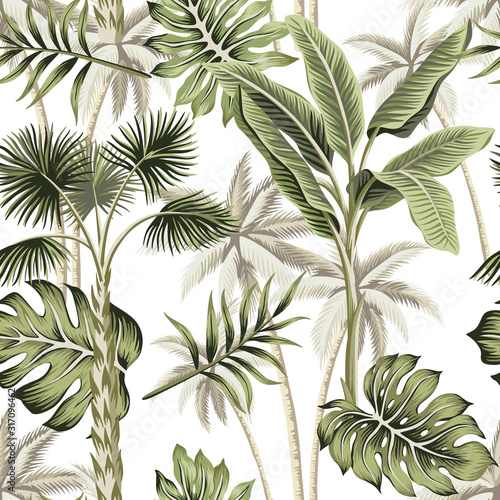 Tapeta do sypialni  tropical-vintage-botanical-landscape-palm-tree-palm-leaves-floral-seamless-pattern-white