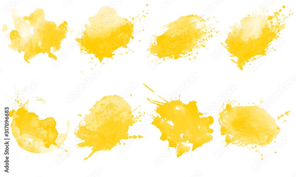 Fototapeta Yellow splash brushes. Set of yellow watercolor brushes