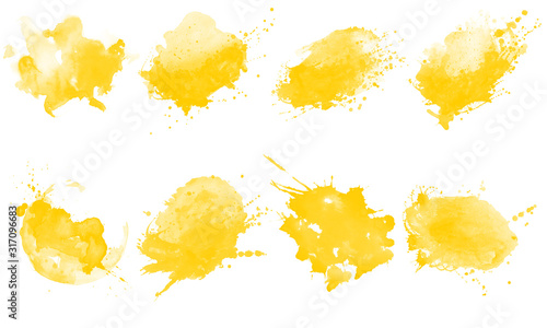 Obraz Yellow splash brushes. Set of yellow watercolor brushes - fototapety do salonu