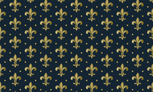 Seamless Pattern With A Gold Royal Lily Called A Fleur-de-lis On A White Background. Vector Heraldic Ornament. Usable For Design, Packaging, Wallpaper, Textile, Card, Web