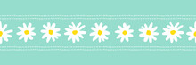 Large White Retro Graphic Daisies Blooms On Mint Background Vect