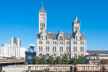 Nashville City View With Railroad And Former Art Deco Terminal Union Station, Tennessee