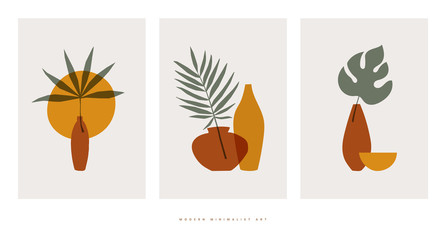 Fototapeta Minimalistyczny Collection of abstract botanical compositions vector flat illustration. Trendy collage with elements of exotic palm leaves for eco-design on isolated background. Modern minimalist art.