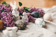 Modern Easter Eggs, White Bunn...