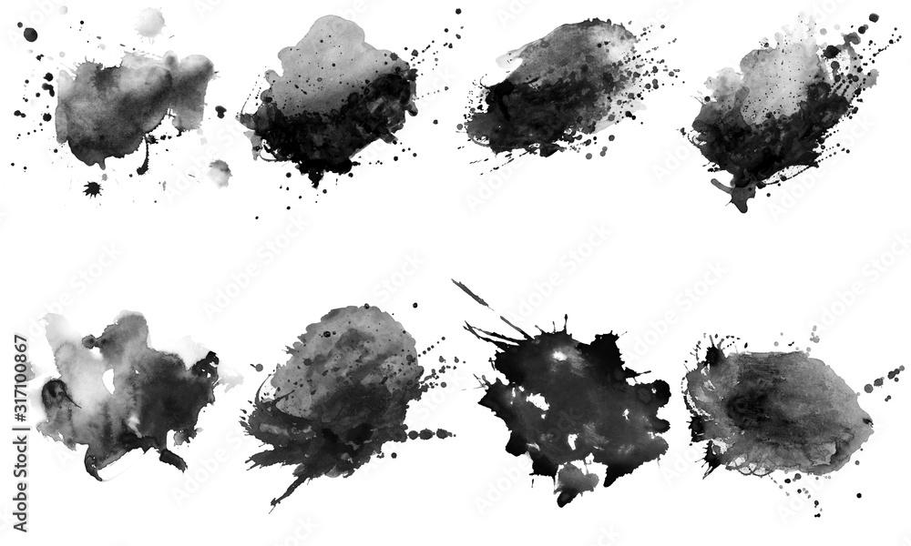 Fototapeta Beautiful black watercolor splash brushes. Set of black brushes