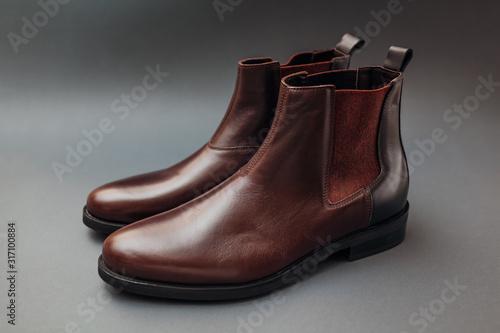 Shoes, chelsea leather boots for men Canvas Print