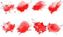 Set Of Red Splashes Brushes. R...