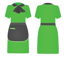 Green Maid Uniform. Vector Illustration