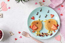 Creative Idea For Kids Breakfast - Funny Pancakes Shaped Cute Birds