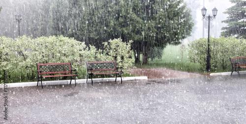 Cuadros en Lienzo Rain and hail on a summer day