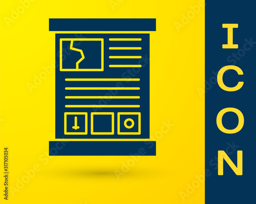 Blue Game guide icon isolated on yellow background Wallpaper Mural