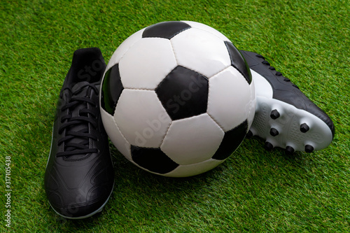 Valokuva Sports equipment, athletics competition and sporting event concept with soccer b