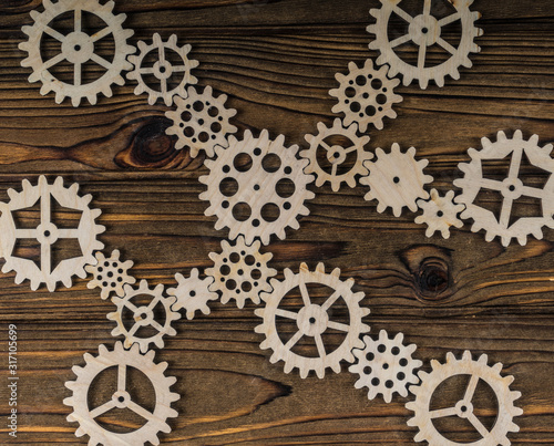 Fotografie, Obraz  The interaction mechanism, gears assembled into a puzzle