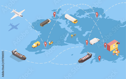 Worldwide goods shipment isometric illustration. Global delivery service with international trade routes and various transport means. Logistic company transatlantic freight shipping