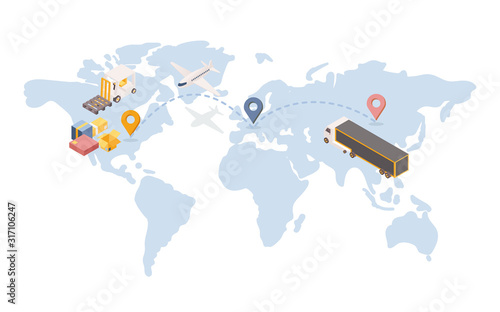 Transatlantic goods shipping isometric illustration. International logistic company with transportation terminal unit in Europe. Global trade route, cargo and air shipment service concept