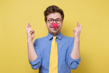 Young Man With Red Clown Nose ...