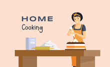 Home Cooking Flat Banner Vecto...