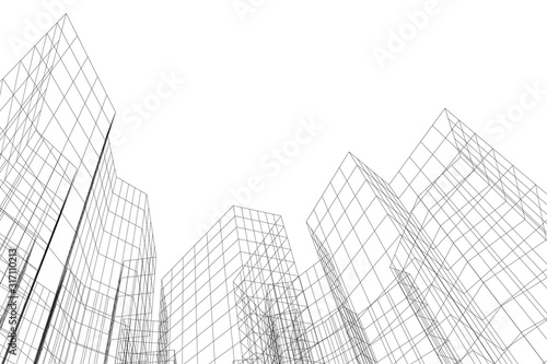 Abstract architectural background. Linear 3D illustration. Concept sketch - 317110213