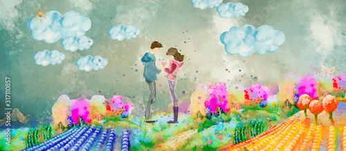 Cuadros en Lienzo Haappy couple, watercolor banner, greeting card