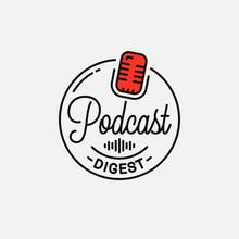 Podcast Digest Logo. Round Linear Logo Podcast