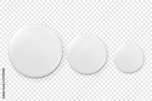 Fotografía Vector 3d Realistic Metal or Plastic Blank Button Badge Icon Set Closeup Isolated on Transparent Background
