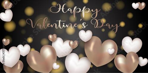 carte ou bandeau happy valentine's day coeur marron blanc Canvas Print