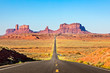 canvas print picture - Scenic Road leading to Monument Valley