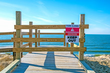 Beach Erosion Warning Sign On ...