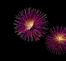 Pink, Green And Yellow Fireworks At The International Sound Of Light (Les Grands Feux Du Casino Lac-Leamy) Fireworks Competition