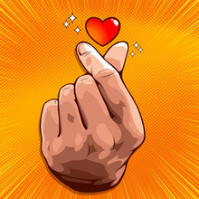 Picture Of Hand Showing Mini Heart, Korean Love Sign, Hand Symbol For Delivering Love, Vector Illustration On Yellow Background For Comic Book Cover Template, Flyer Brochure Speech Bubbles, Doodle Art