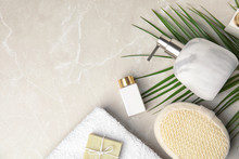 Flat Lay Composition With Soap Dispenser On Marble Background. Space For Text