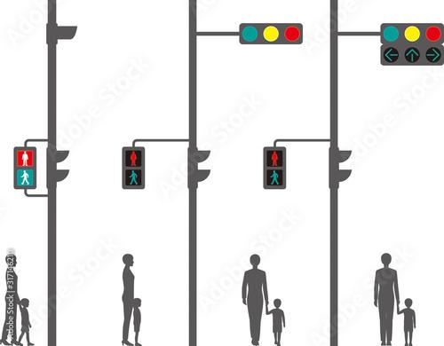 Photo 横型信号機・歩行者用信号機・・矢印式信号機と歩行者