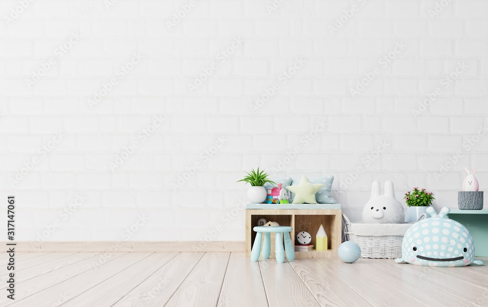 Fototapeta Mock up in children's playroom with tent and table sitting doll on empty white wall background.