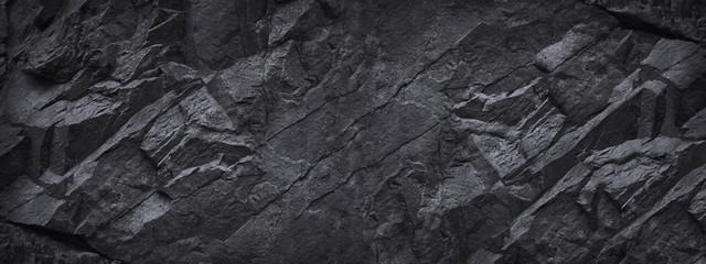 Black stone background. Dark gray grunge banner. Black and white background. ...