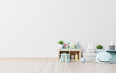 Mock up in children's playroom with tent and table sitting doll on empty white wall background.