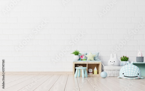 Fototapeta Mock up in children's playroom with tent and table sitting doll on empty white wall background. obraz